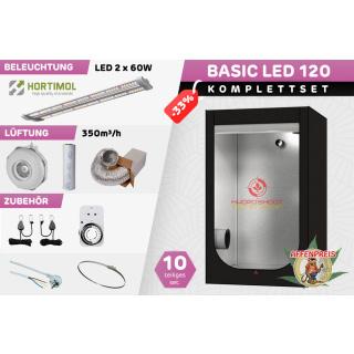 Growzelt Komplettset - Basic Hydro Shoot LED - 120 x 120 x 200cm