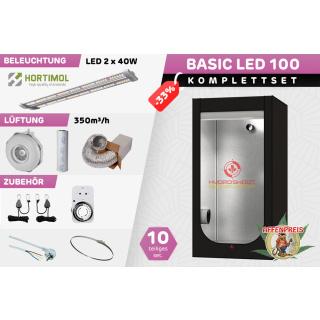 Growzelt Komplettset - Basic Hydro Shoot LED - 100 x 100 x 200cm