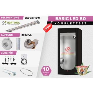 Growzelt Komplettset - Basic Hydro Shoot LED - 80 x 80 x 160cm